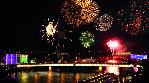 Donau in Flammen in Linz